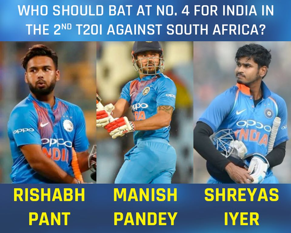 Who should bat No 4 for India in the 2nd T20I against South Africa?........#TeamIndia #SAvIND #INDvSA #T20 #cricket #sports #sportsnews #TentaranSports #kohli #ViratKohli #Hitman(PIC Credit: CricAdictor/FB)