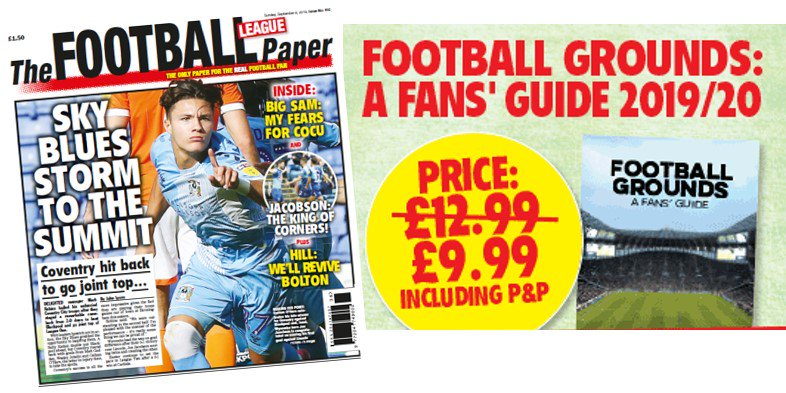 A brace of offers >Football Grounds: A Fans' Guide covers all 92 football grounds of the #EPL and #EFL plus all 24 #NATIONALLEAGUE teams. Buy now for just £9.99 inc P&P: bit.ly/FansGuide2018 / Subscribe to The Football League Paper: bit.ly/FLP-Subs