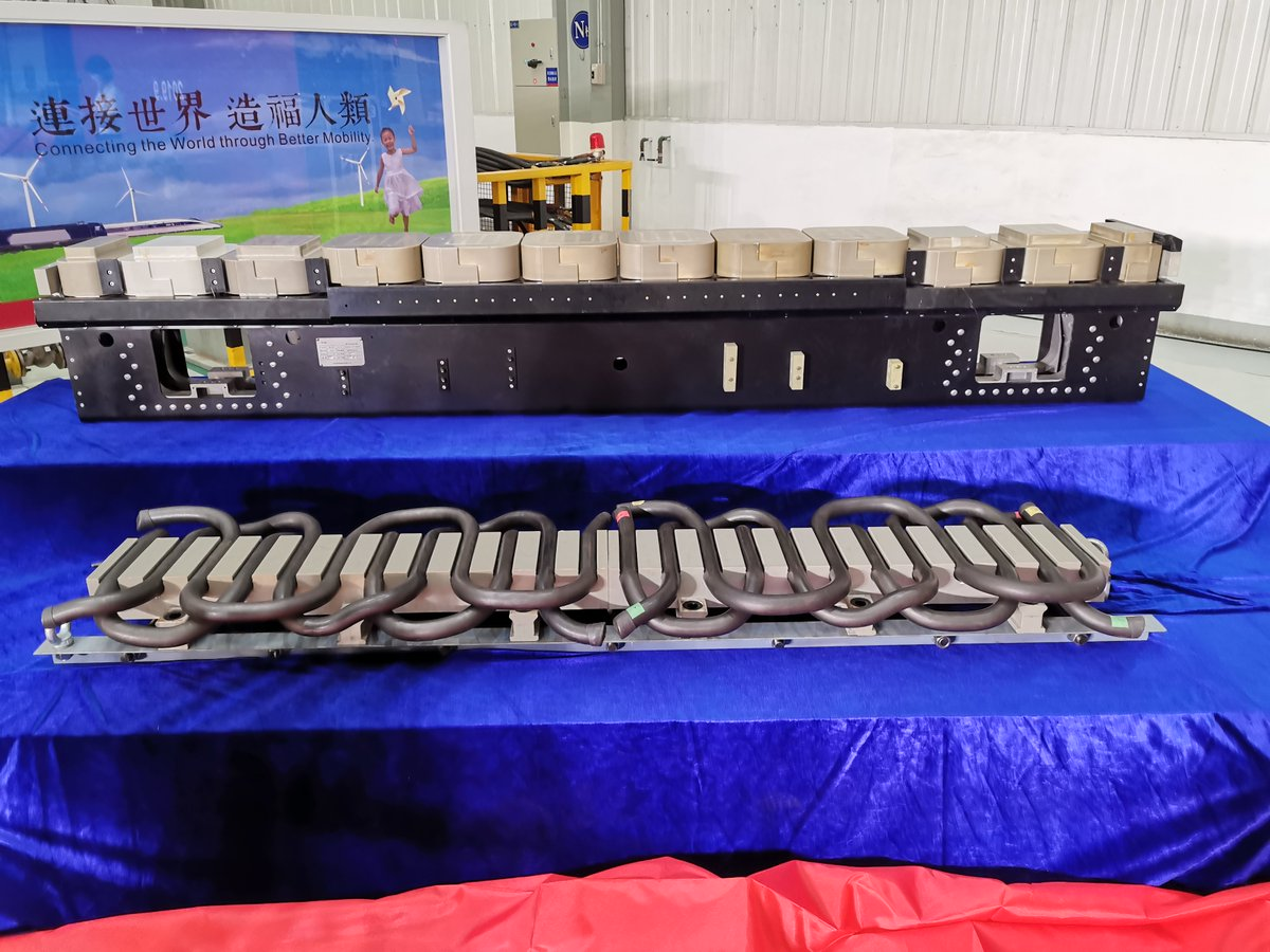 Key components of China's 600 kph maglev train are unveiled. Key parts of the train's power system include a long stator linear motor and two transformers http://xhne.ws/Jz9RA