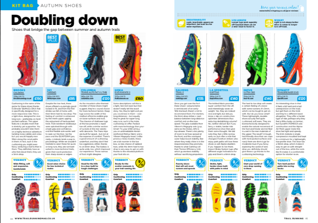 Shoes which will cope well with both summer and autumn trails. See our reviews in the new edition of Trail Running. @Columbia1938 @HOKAONEONE @inov_8 @DYNAFIT_SpeedUp