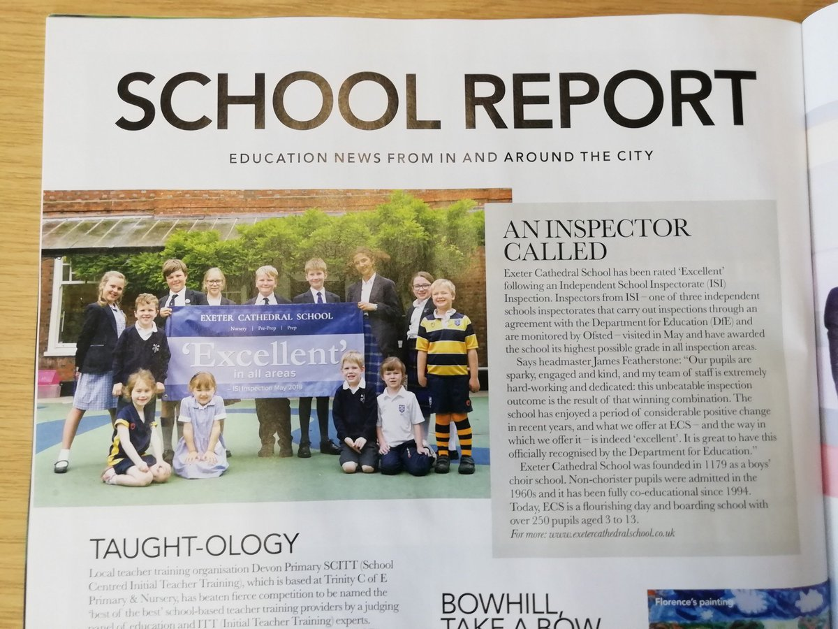 Don't miss our page in Exeter Living magazine – well worth shouting about our ISI report! #excellence @ExeterLiving https://t.co/O7BFzDME4r