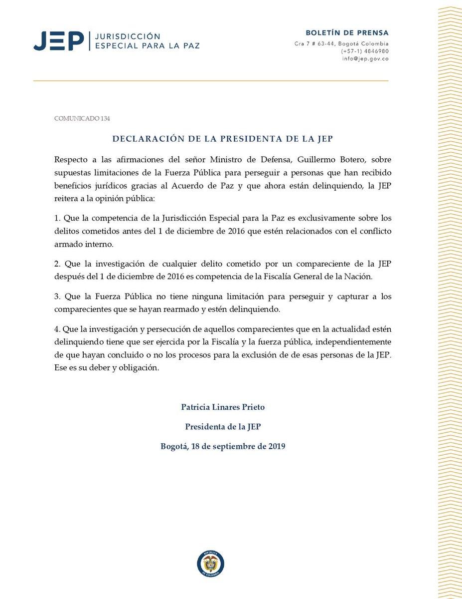 📄La @JEP_Colombia reitera que @FiscaliaCol y Fuerza Pública son competentes para perseguir a comparecientes que estén delinquiendo.