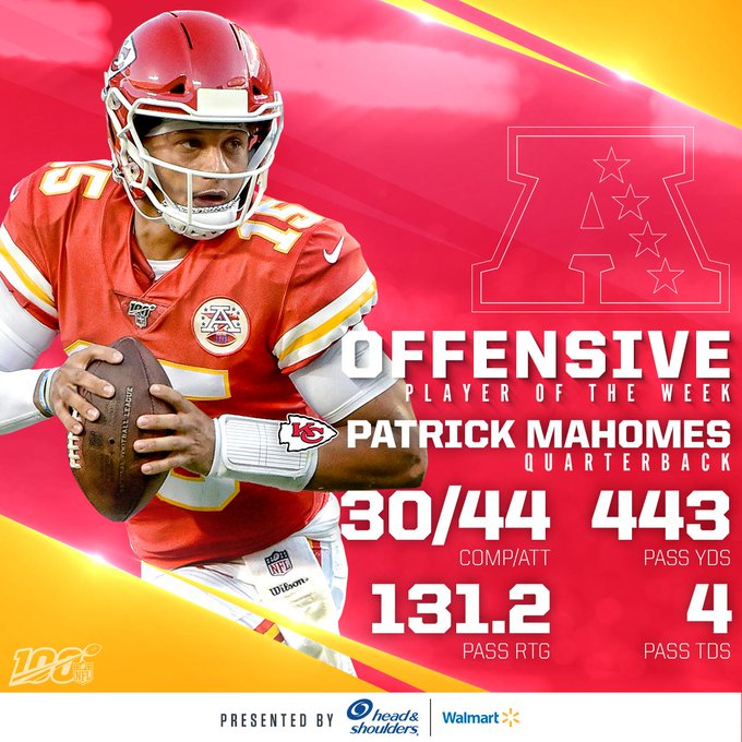 Offensive Players of the Week (Week 2):  AFC: @Chiefs QB @PatrickMahomes  NFC: @Seahawks QB @DangeRussWilson   (by @Headshoulders)