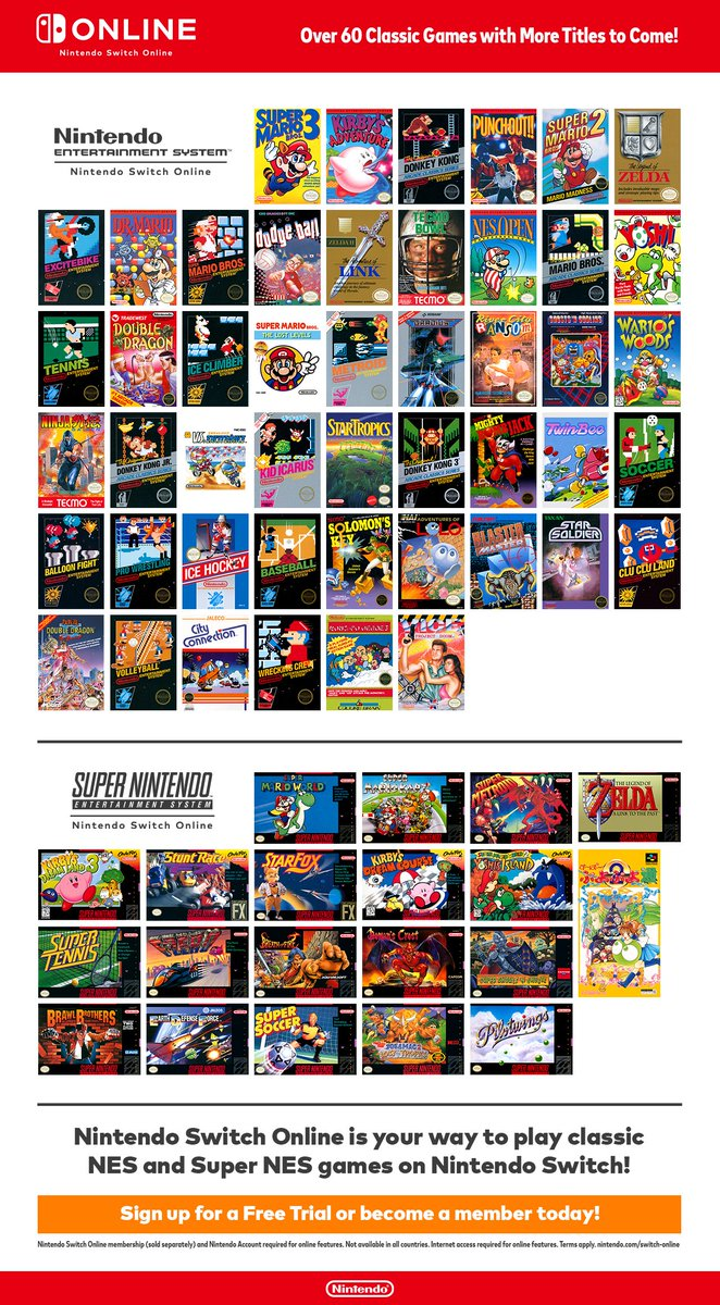 Nintendo Of Canada On Twitter Nintendoswitchonline Members Can Now Enjoy Over 60 Classic Games With The Nes Snes Nintendo Switch Online Collection Of Games Sign Up For A 7 Day Free
