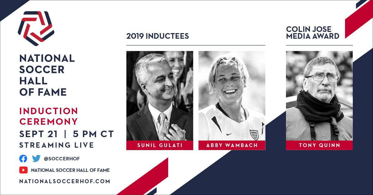 This Saturday, watch the #NSHOF19 ceremony live starting at 5pm CT on @soccerhof channels.