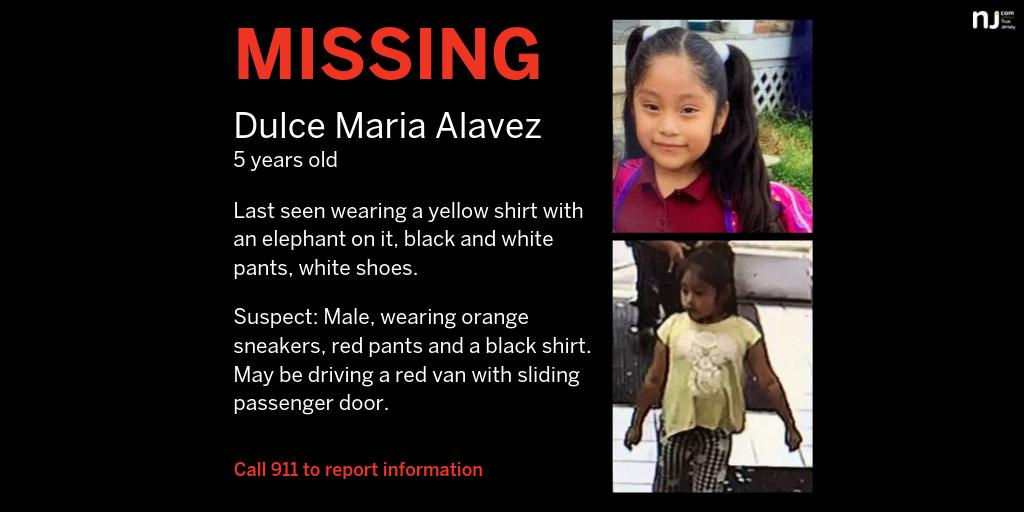 #AmberAlert issued for 5 year old from #NJ.  The suspect lured Dulce Maria Alavez from a playground to a red van with a sliding side door, police say.  http:// nj-ne.ws/LP3um65      #NewJersey #missing #MissingCHILD #MissingPerson <br>http://pic.twitter.com/CSwokOPQwP