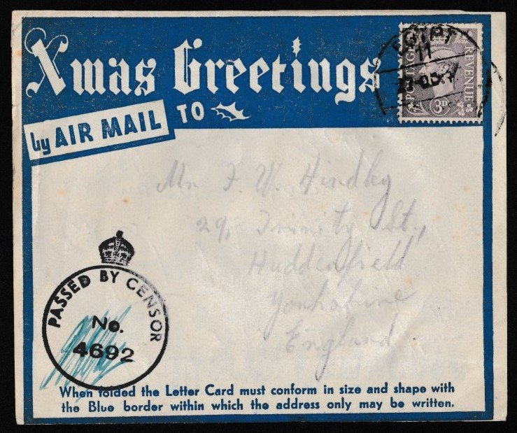 I always find Service Mail so interesting, and yet so poignant. I find myself researching the sender whenever I find one, and wondering whatever happened to them. The attached for example is from a driver in the 14 Coy Royal Army Service Corp in Egypt Xmas 1942. #philately <br>http://pic.twitter.com/kzGM4kTYJl