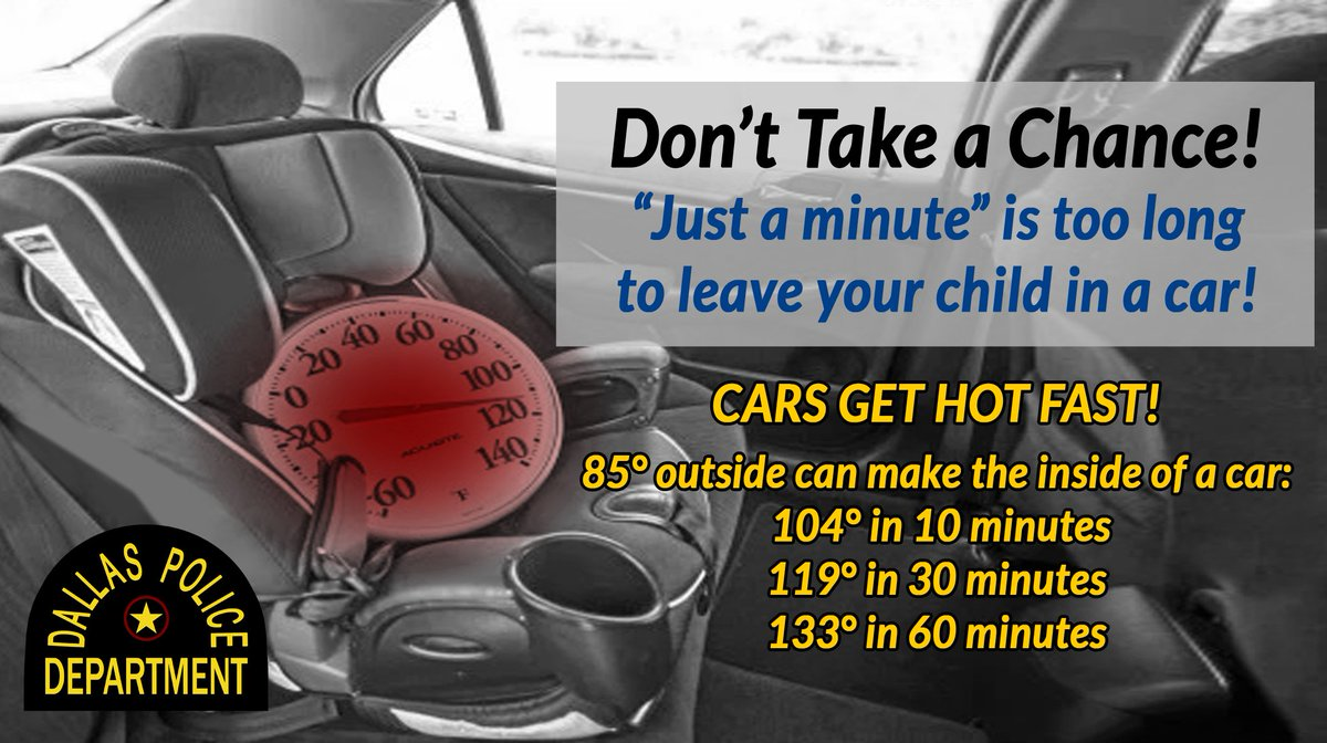 Despite the temperatures changes, @DallasPD would like to remind you to continue to be vigilant. Don't take a chance, never leave a child in a vehicle. Cars get hot fast. #ChildPassengerSafetyAwareness @ChiefHallDPD