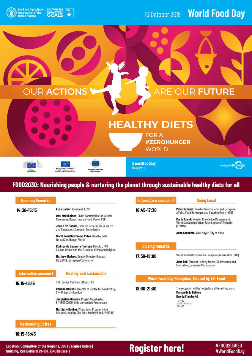 📢 REGISTER (by 30 Sep) to attend the High Level Event in Brussels on 16 October celebrating #WorldFoodDay. The organisers call for action to make sustainable healthy diets 🍽️♻️available & affordable to all.📡live stream info soon👉cdweb.eesc.europa.eu/eesceuropaeu-a… #obesity #FOOD2030EU