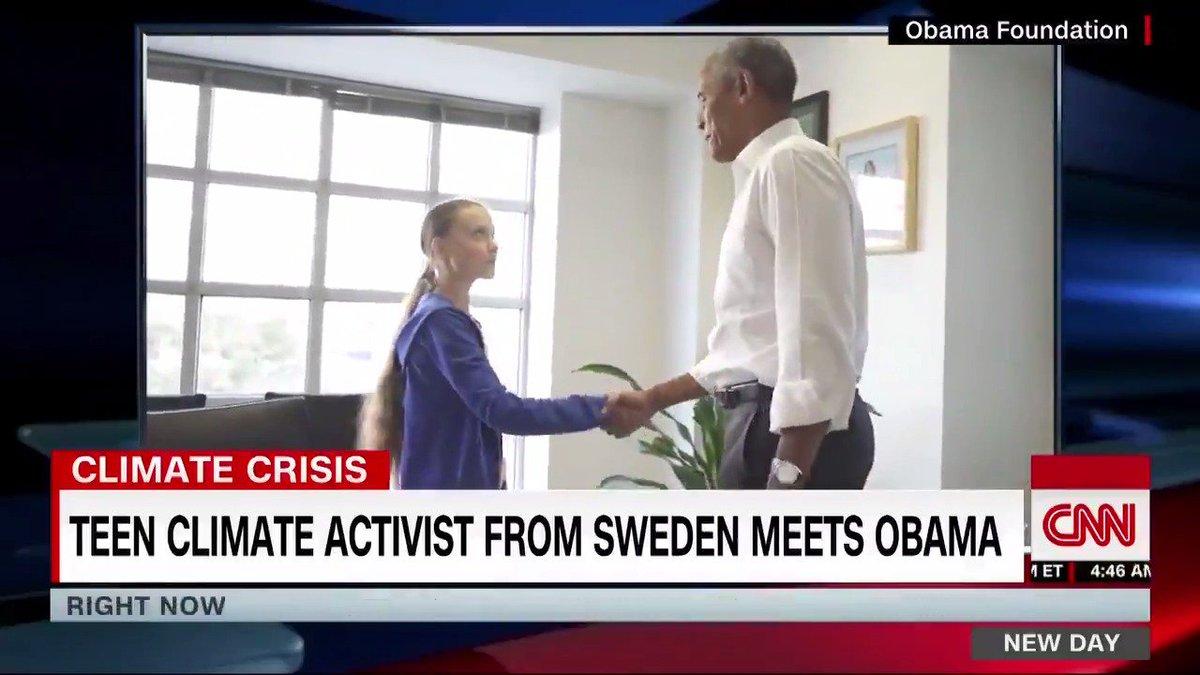 Former President Obama met with teen climate activist Greta Thunberg in Washington, DC