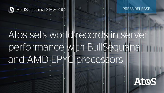 Proud to announce that our #BullSequana XH2000 #supercomputer powered by AMD's #EPYC 7H12...