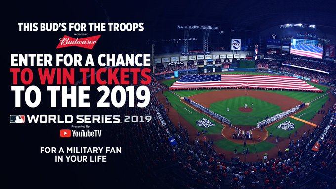 Pay it forward to a military member in your life with tickets to the World Series, courtesy @BudweiserUSA! Here's how: https://t.co/b5SsQZKo