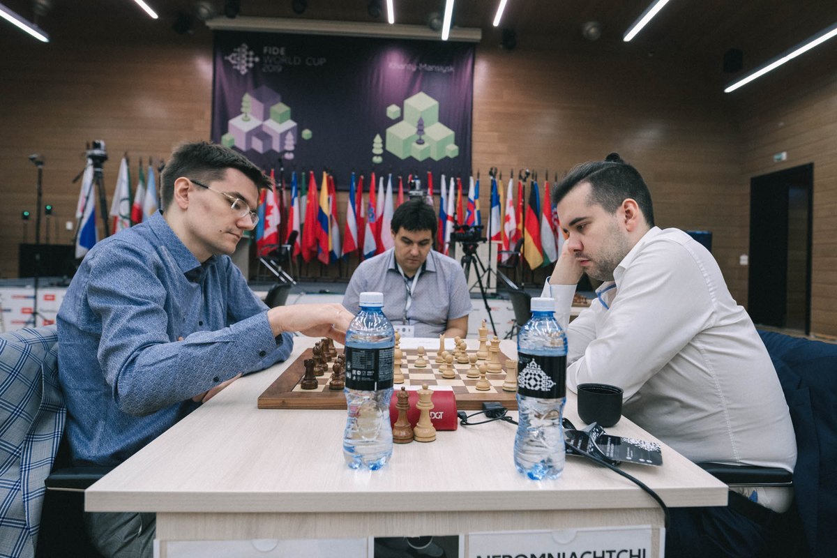 test Twitter Media - Blitz part of #FIDEWorldCup Round 3 tiebreaks starts in just a few minutes!   Matches in progress: Dominguez - Wang Tomashevsky - Nepomniachtchi @lachesisq  Jakovenko - @Vachier_Lagrave   Tune in! https://t.co/mAW5MlEYKE https://t.co/X83TDAYIyl https://t.co/qShjmlsi1t