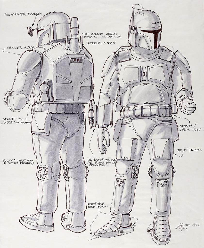 Joe Johnston's original concept art drawings for Boba Fett give insight into the design process of the character. (Watch out for those boot spikes, Han Solo.)