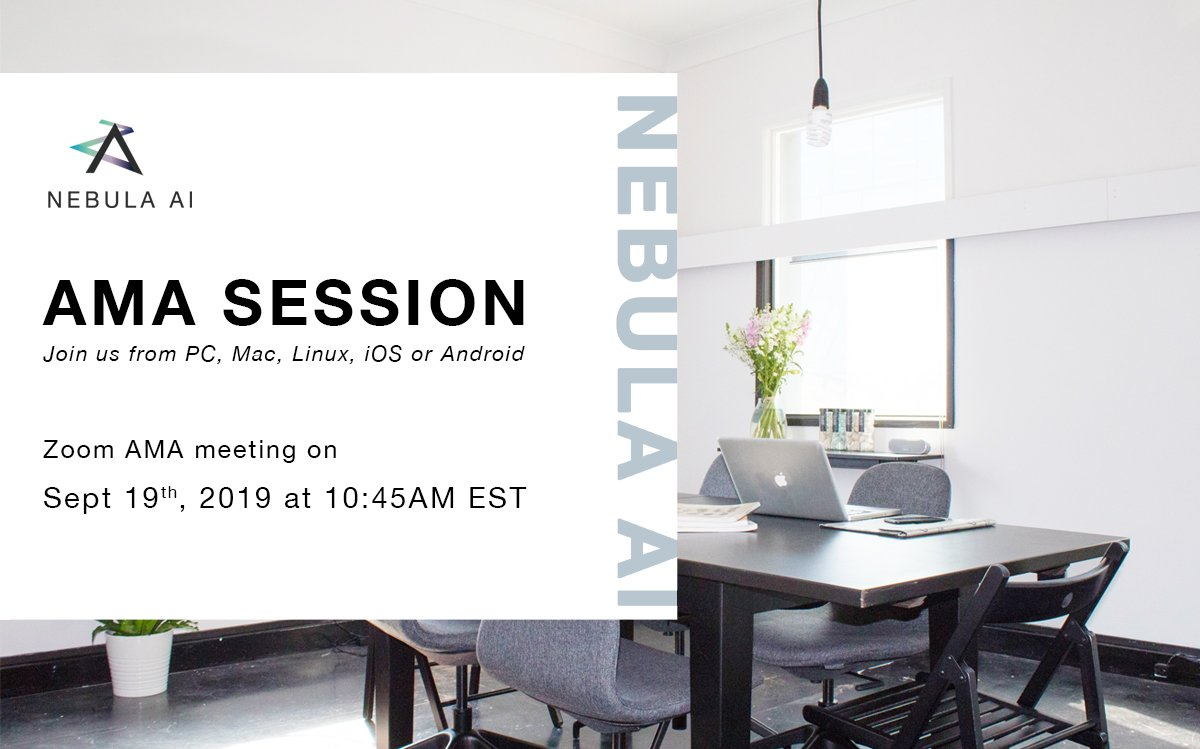 #NebulaAI #AMA session will begin shortly. Don't miss development and business progress! We are excited to share the updates  For those who will miss the live, we will have a written blog report and the recording will be posted on our youtube channel