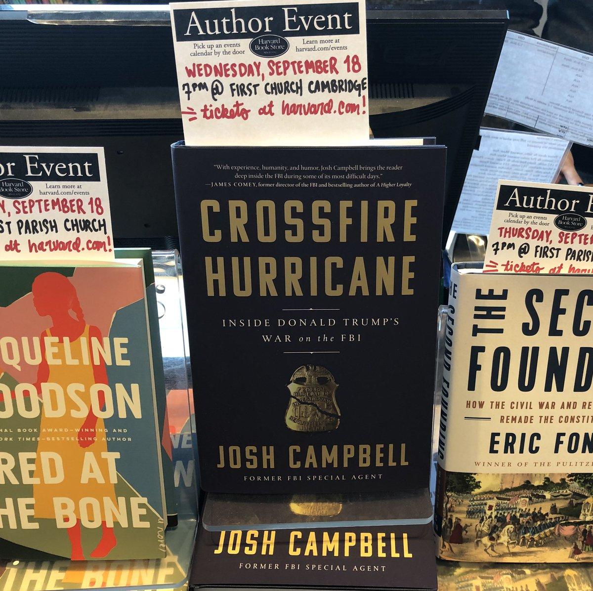 "Just saw my friend @joshscampbell  book ""Crossfire Hurricane"" at @HarvardBooks  - Come see him tonight w/ @juliettekayyem  - tix at  http://Harvard.edu"