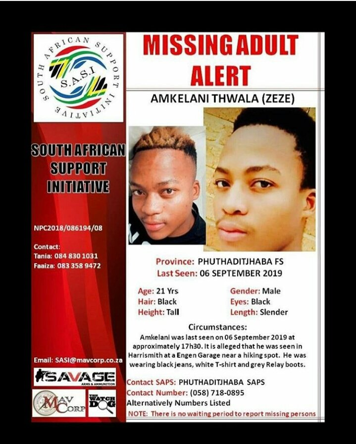 #MissingPerson #missingpersonalert #bringbackourbrother #missing Please share and help us bring him back safe. @BoetPrince<br>http://pic.twitter.com/mqjacWqy13