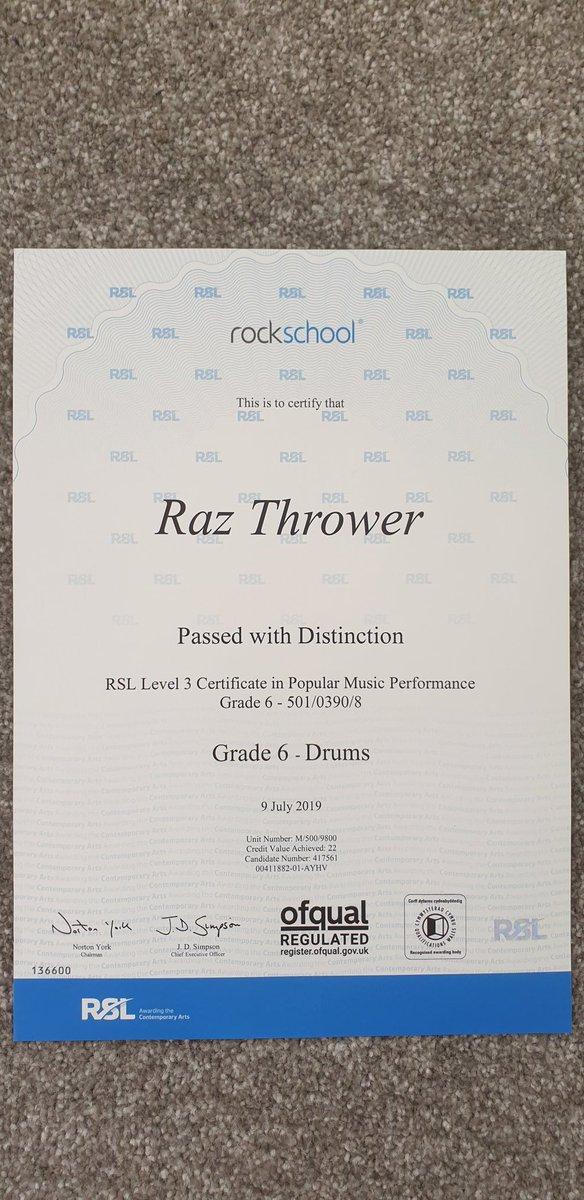 Grade 6 Drums passed with Distinction, Happy me  @designmockv1 @drums_are_bad @odery @mcflyharry @MarcusMiller959 @dwdrums @GaynorMel @dfrankenreiter @NewtonFaulkner<br>http://pic.twitter.com/qXRmArHJJJ