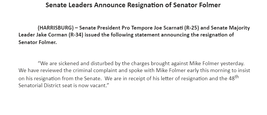 Mike Folmer, charged with child pornography possession last night, is officially out of the Pennsylvania Senate.