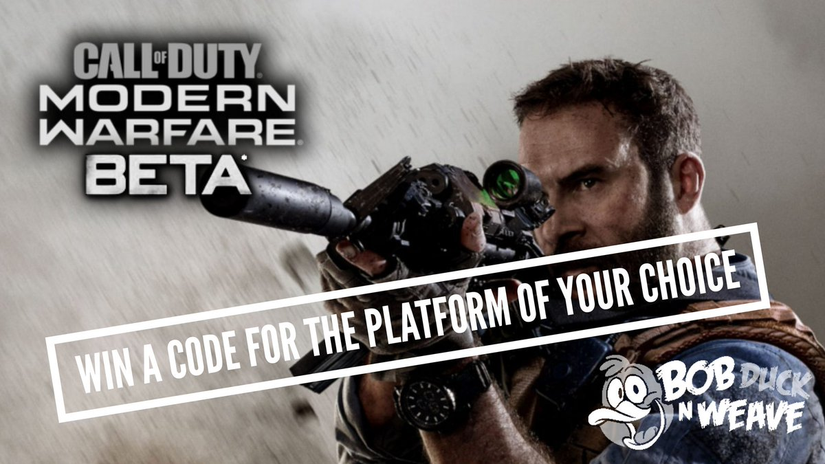 Want to play the @CallofDuty #ModernWarfare Beta? Like, RT, tag a friend & enter at this link for your chance to win a code: playr.gg/BobDuckNWeave/… #CallofDuty #ModernWarfareBetaCode #Giveaway