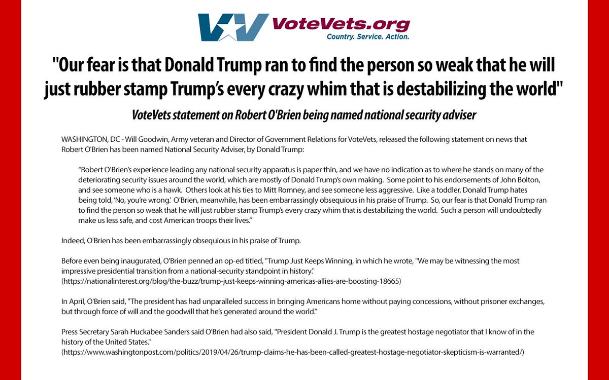 """Army veteran and Director of Government Relations for VoteVets, @Will_P_Goodwin, says @realDonaldTrumps new National Security Adviser, Robert OBrien, rubber stamp Trump's every crazy whim and """"will undoubtedly make us less safe, and cost American troops their lives."""""""