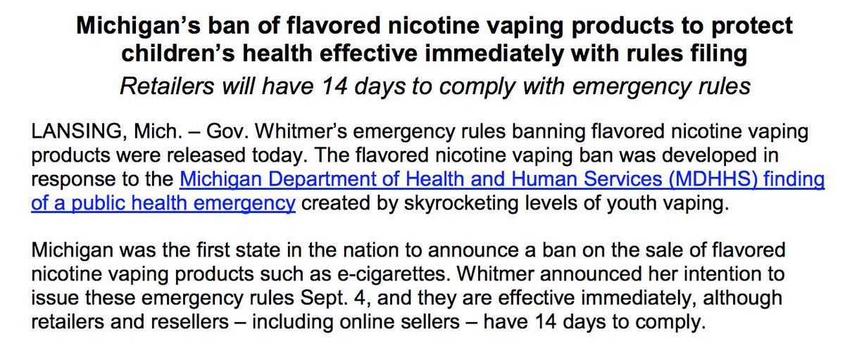 #BREAKING: The State of Michigan has officially banned all flavored nicotine vaping products. The ban is in effect immediately and retailers have 2 weeks to comply
