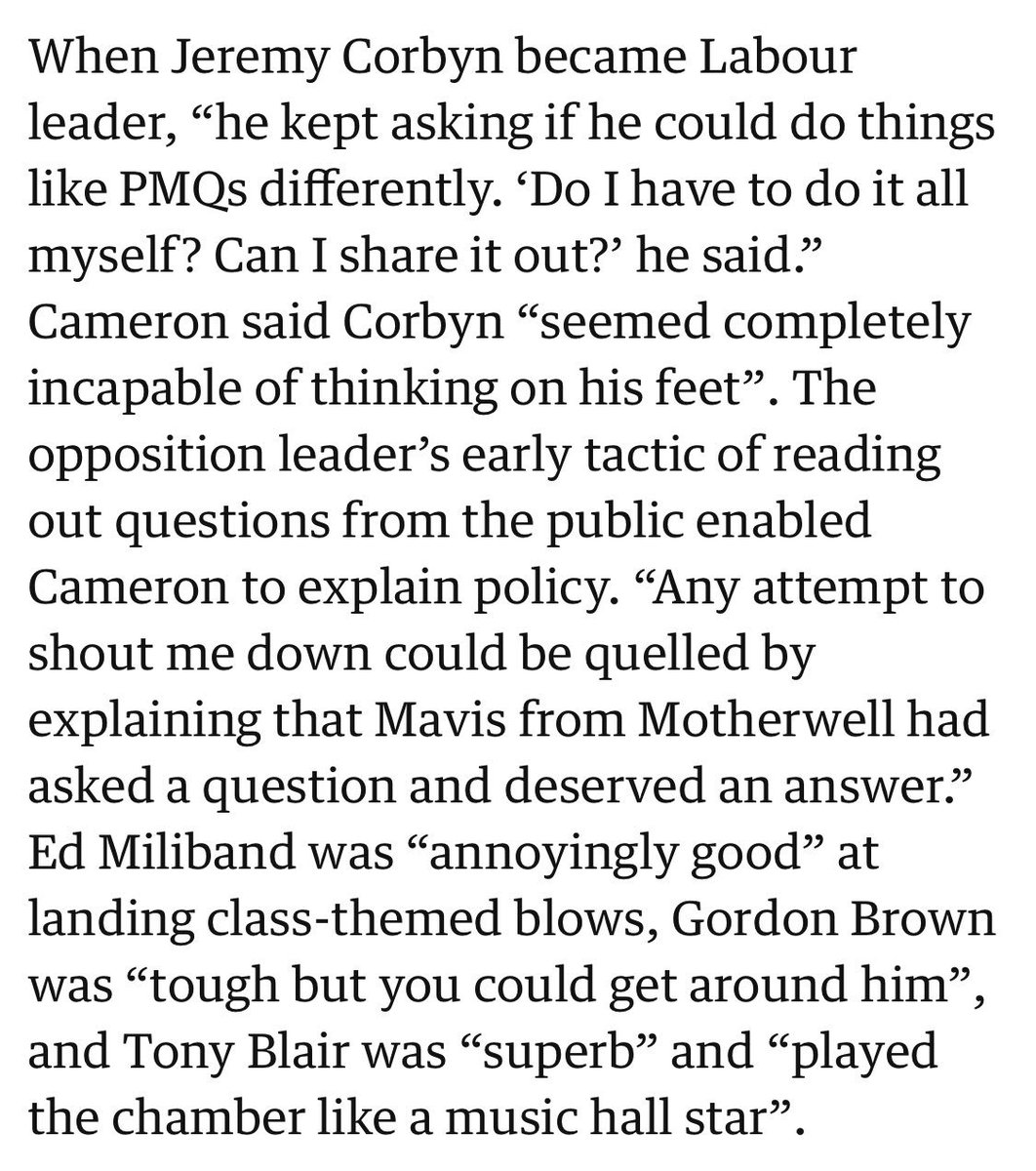 NEW: Jeremy Corbyn asked if he could 'share out' responsibility for #PMQs when he first became Labour leader.  (According to @David_Cameron's new book).   https://www. theguardian.com/politics/2019/ sep/18/david-cameron-book-more-relevations-from-downing-street-years   … <br>http://pic.twitter.com/jhwJr0X6Zq