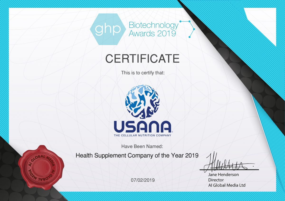 USANA es premiada por publicación mundial del sector por segundo año consecutivo. Es nombrada Compañía de Suplementos para la Salud 2019 por la revista Global Health & Pharma. Conoce más aquí: https://t.co/neSzytxrkY https://t.co/qEklvv92Oc