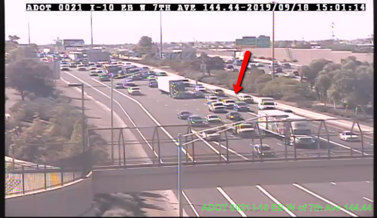 UPDATE: Left lane has reopened on I-10 Eastbound before 7th Avenue.