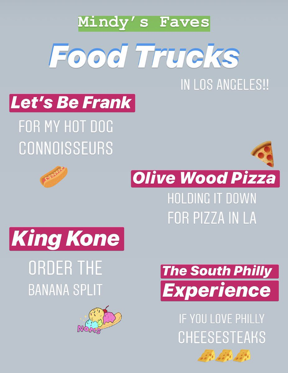 Since working on set in film and TV, I've had my fair share of food truck experiences. So much so, that I've developed favorites 🌭🍕🍦🌯 Here they are, people! Lmk your recommendations!!