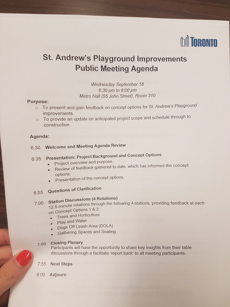 At the public meeting for St. Andrews Playground improvements (at Adelaide and Brandt). Spadina - Fort York needs new and improved parks. Looking forward to this. #spafy #TOpoli #Toronto<br>http://pic.twitter.com/WUN7kDyhca