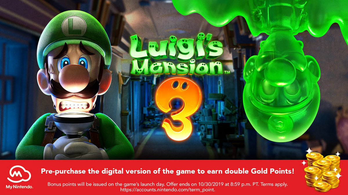 My Nintendo members! Here's a spook-tacular bonus for you: Earn up to 600 My Nintendo Gold Points if you pre-purchase the digital version of the #LuigisMansion3 game through Nintendo eShop or http://Nintendo.com (where available) before 10/30!https://luigismansion.nintendo.com/