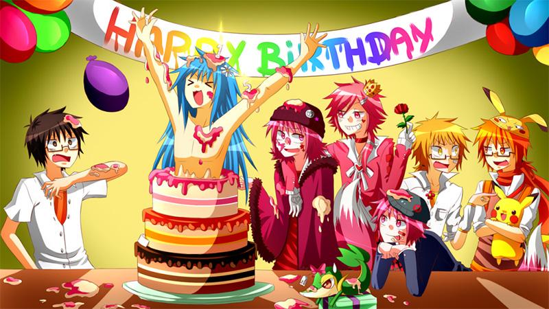 Открытки с днем рождения для аниме, смешные девочки мальчик