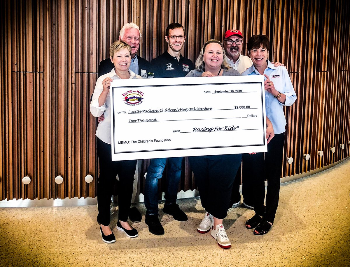 . @BourdaisOnTrack made a visit to #LucillePackardChildrensHospital with our friends at @RacingForKids this morning to help present this $2,000 donation. #INDYCAR #FirestoneGP