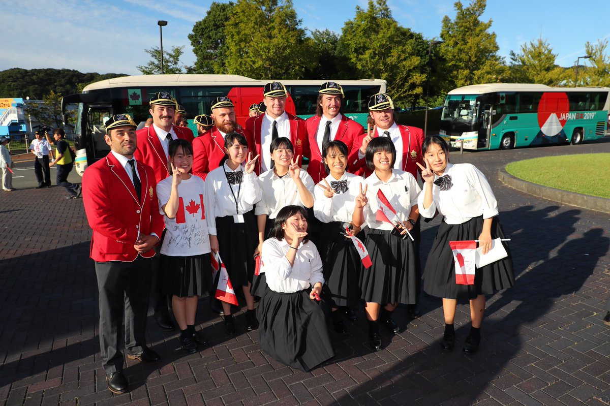 Canada has officially arrived! ✌️🇯🇵 Amazing time at the @rugbyworldcup welcome and capping ceremony in Nagato 🏉🍁 #RugbyCA #RWC2019
