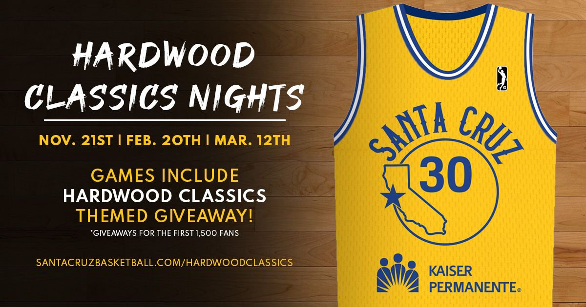 We are excited to announce that we will host Hardwood Classics Nights during the 3️⃣ Thursday night home games this season as an homage to our affiliation with the @warriors 🌉Plenty of great giveaways, merchandise, ticket packs and more! 🏀  http://santacruz.gleague.nba.com/hardwoodclassics…