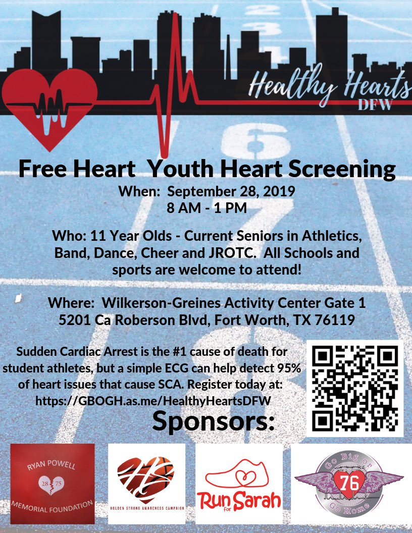 Free Heart screening at the Wilkerson-Greines Activity Center next Saturday September 28th!!