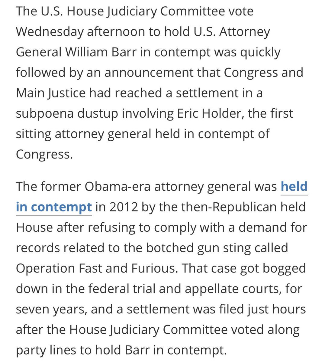 "Lots of commentary about Nadler being weak & Dems ""throwing people in jail"" for refusing subpoenas & obstructing/Contempt of Congress We REALLY need to know how the system works before we condemn our House leaders They ARE abiding by the Constitution 7 years for Holder's case"