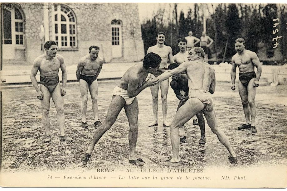 """QuintusCurtius on Twitter: """"Found this 1910 photo of students """"ice wrestling"""":  wrestling on a frozen river. No one in this photo is fat. People have  physically and morally degenerated since the early"""