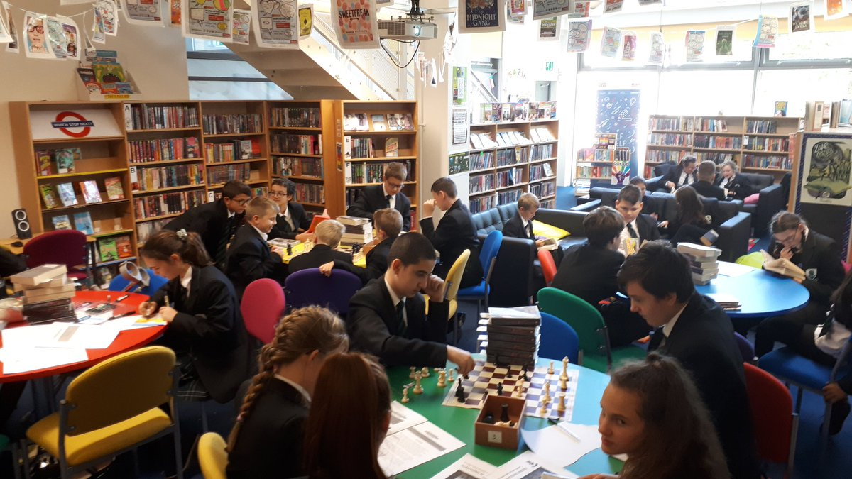 Library packed at lunchtime. Chess, homework, drawing & reading. @GreenshawTrust @GreatSchLibs