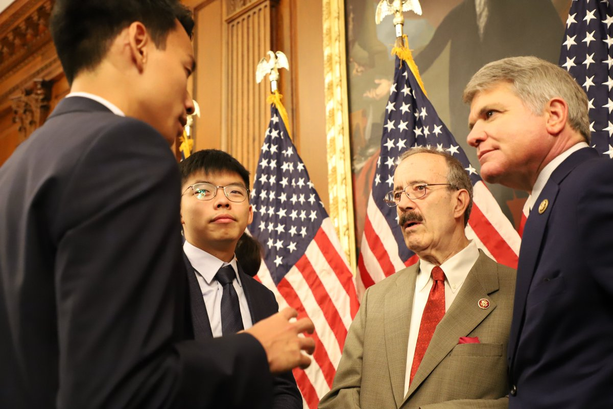 """""""Today—@RepEliotEngel & I were honored to meet @JoshuaWongCF & other freedom fighters. Next week—@HouseForeignGOP will take up the Hong Kong Human Rights & Democracy Act to send a clear message that America will always support liberty in the fight against tyranny."""" - @RepMcCaul"""