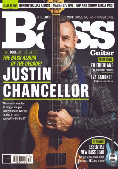 Justin is featured on the current cover of @bassguitar - get it in print at bit.ly/2lZRlSM and digitally at bit.ly/2WOyvvl