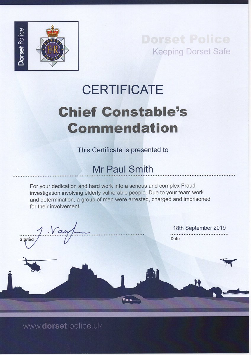 Well what a pleasant surprise, 2 1/2 yrs after my retirement, Dorset Police decide to give me a commendation for an elder Financial Abuse investigation that I led.  https://www. google.co.uk/amp/s/www.bbc. co.uk/news/amp/uk-england-dorset-41808243   … <br>http://pic.twitter.com/C96bQT87Pj