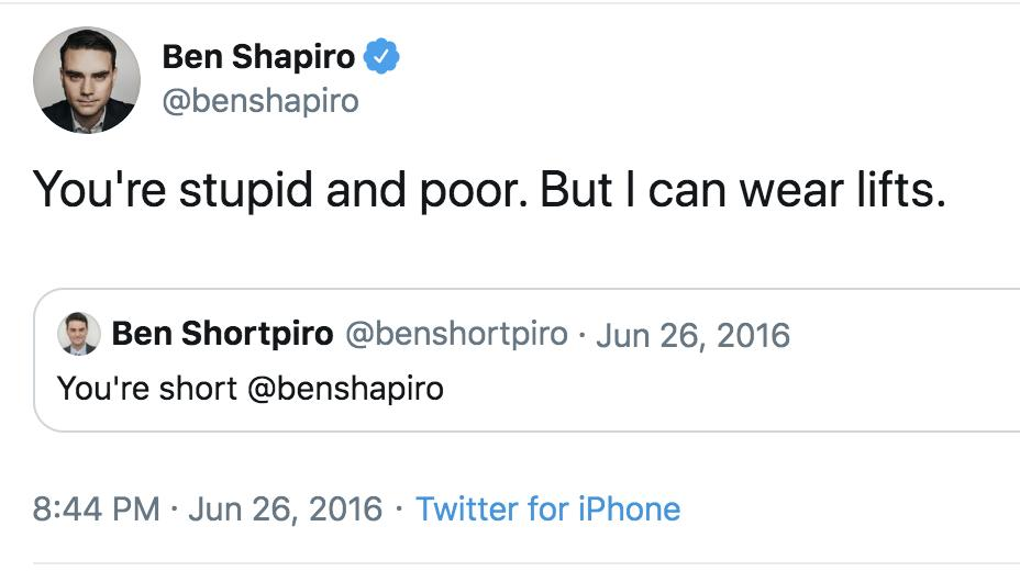 All anyone needs to know about Ben Shapiro is that he once called a bot stupid and poor. <br>http://pic.twitter.com/ONT2s6dPRr