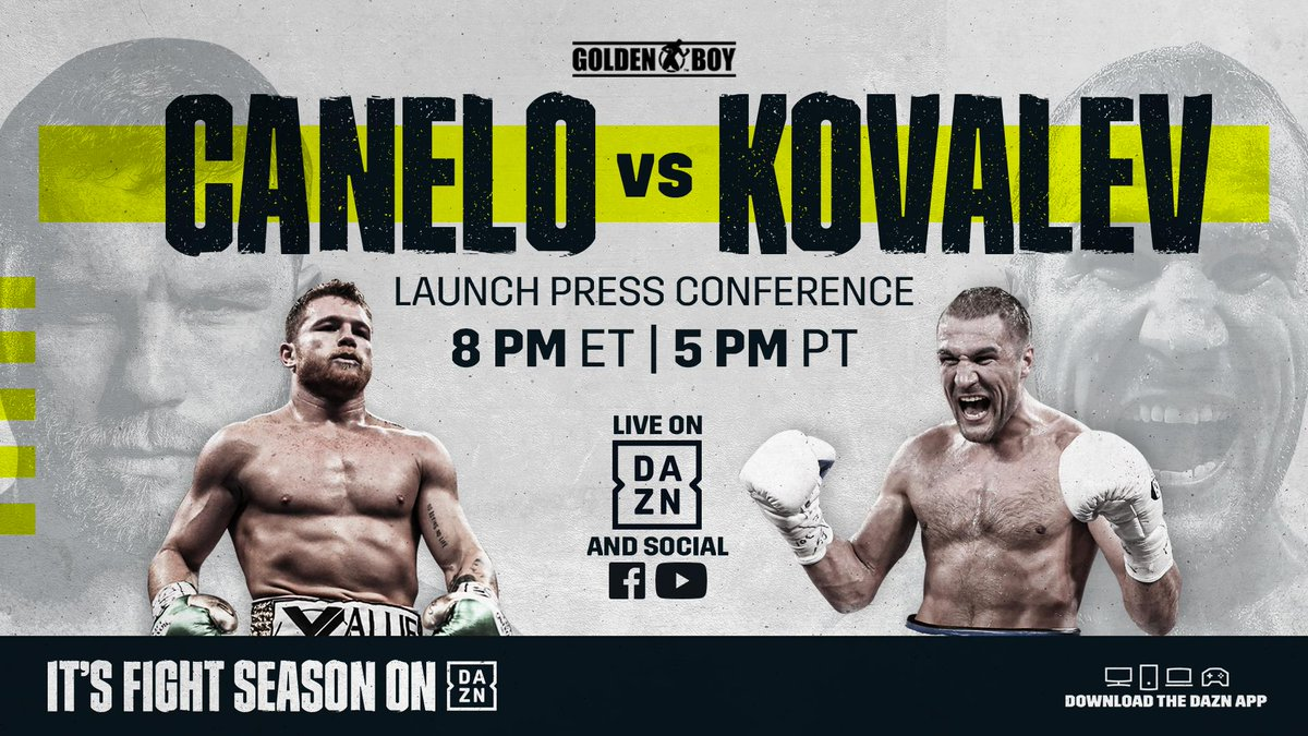 Tonight, Canelo Alvarez and Sergey Kovalev come face-to-face! 🤜🤛  ⏰ 8:00 pm ET // 5:00 pm PT 📺 DAZN YouTube, Facebook, & App  Don't Miss It 👉 http://bit.ly/CaneloKovalevPC
