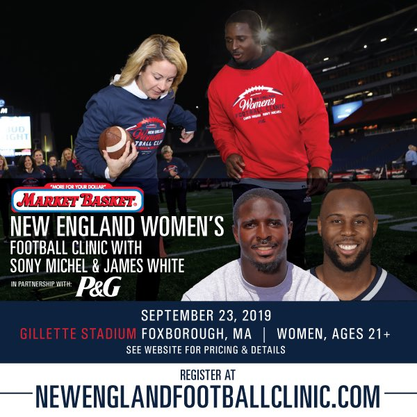Spots are filling up fast in the @MarketBasket New England Women's 🏈 Clinic in partnership with @ProcterGamble! Don't miss your chance to learn from me & @SweetFeet_White at Gillette Stadium! Head over to NewEnglandFootballClinic.com for details.