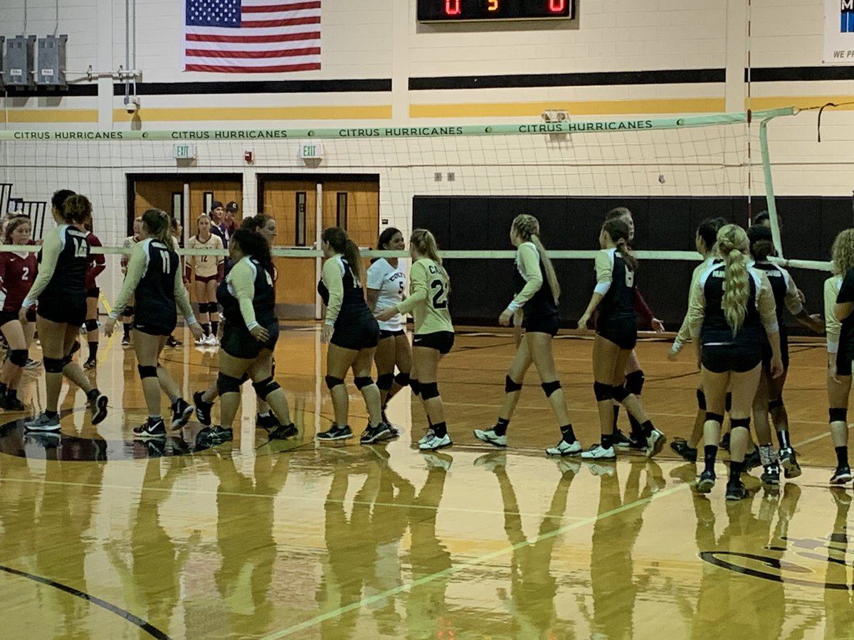 Congrats to @Citrus_Canes JV VB for their comeback victory over NMHS. Way to go Canes!! @CHSCanes #onehurricane <br>http://pic.twitter.com/3g7ZWYpPSO