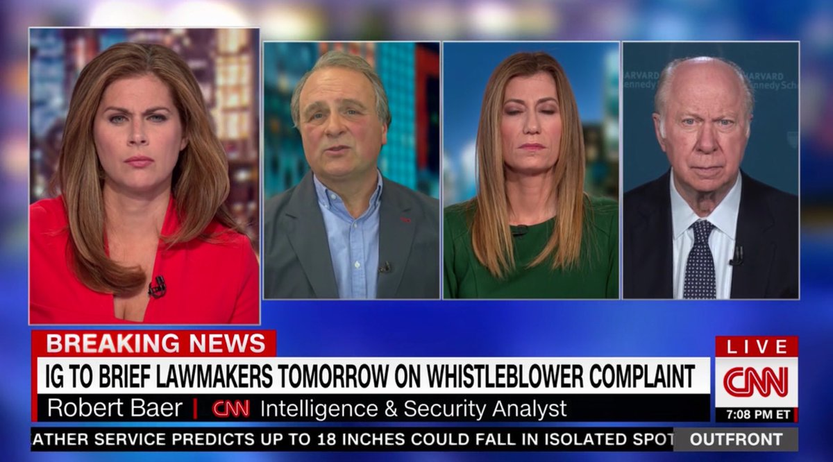 "😨Ex CIA Bob Baer suggests the ""urgent credible threat"" in the whistleblower complaint (that DNI won't give Congress) ""usually"" has something to do w/ someone in White House setting up an illegal backchannel to a foreign govt, or some sort of corruption, discovered by CIA or NSA."