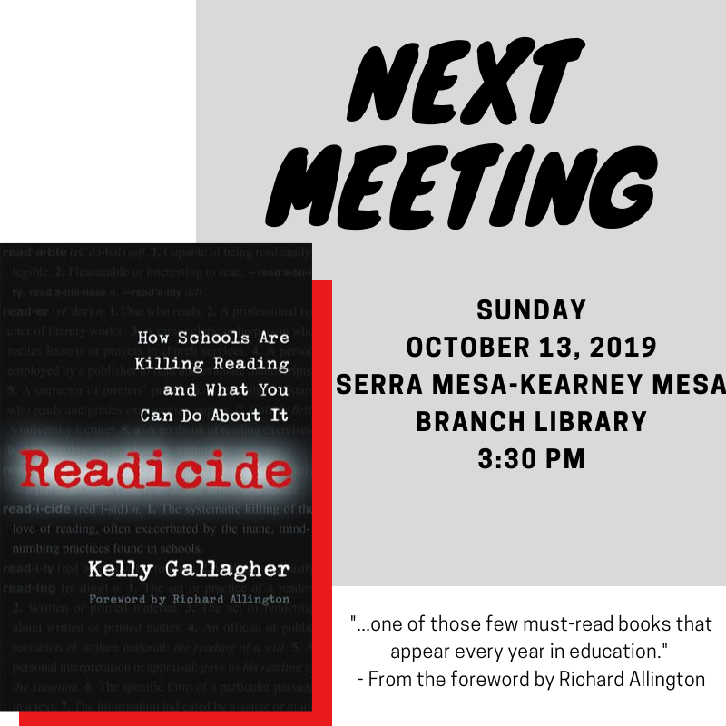Looking forward to seeing returning and new members at our upcoming meeting! #readicide @SD_CATE