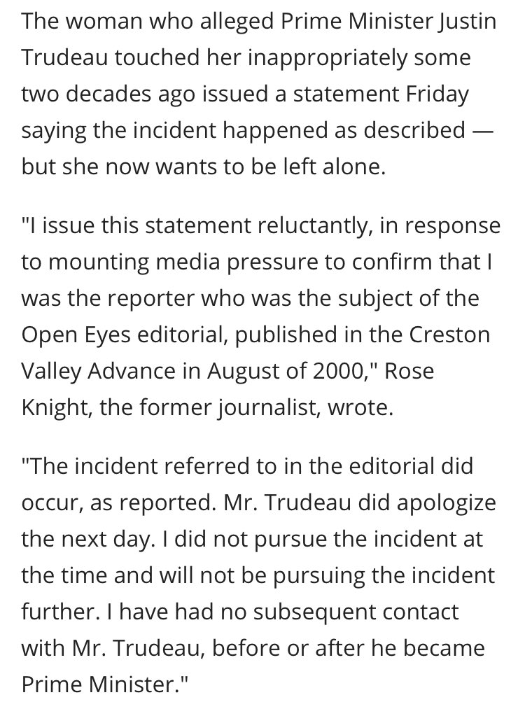 Canadian media have let Trudeau coast on good optics and media friendliness for the entire time he's been in politics. This is how the story got reported last year about the revelation that he had groped a journalist at a music festival when he was 28.